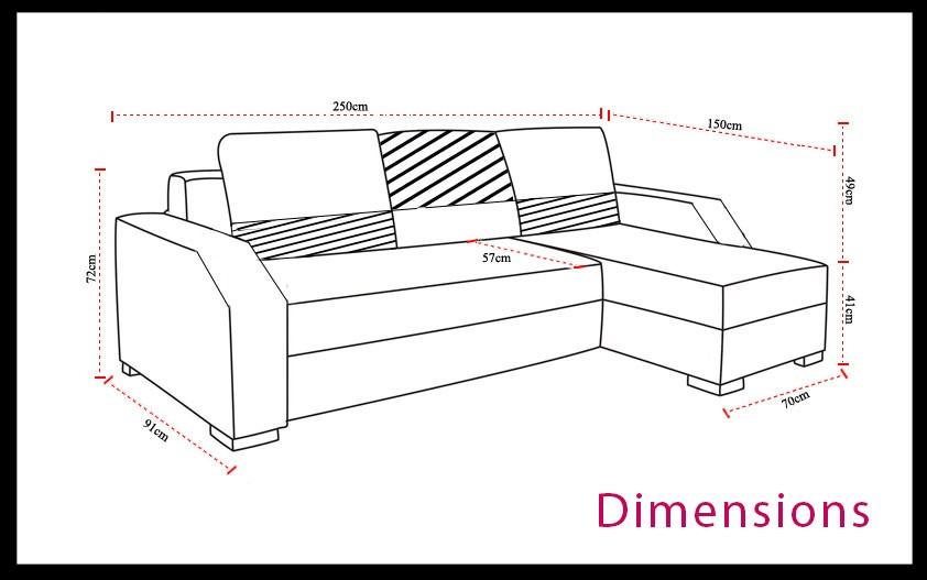 dimensions canapé d angle convertible