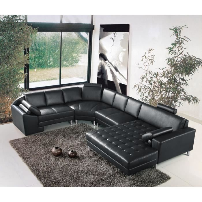 Grand canapé d angle panoramique en cuir noir KING Achat