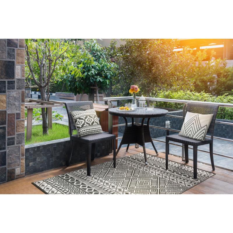 Tapis d extérieur pour terrasse noir et blanc de Jardin et