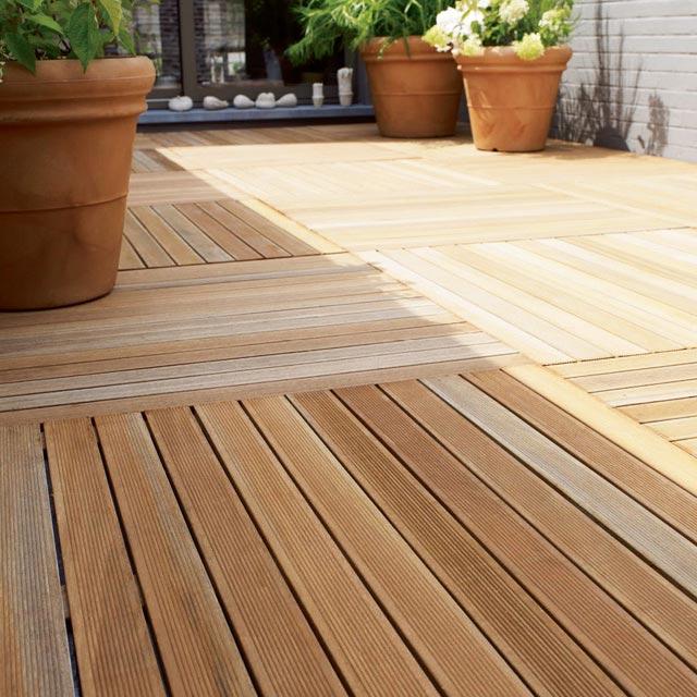 Dalle de terrasse Castorama Dalle en bois exotique 100 x