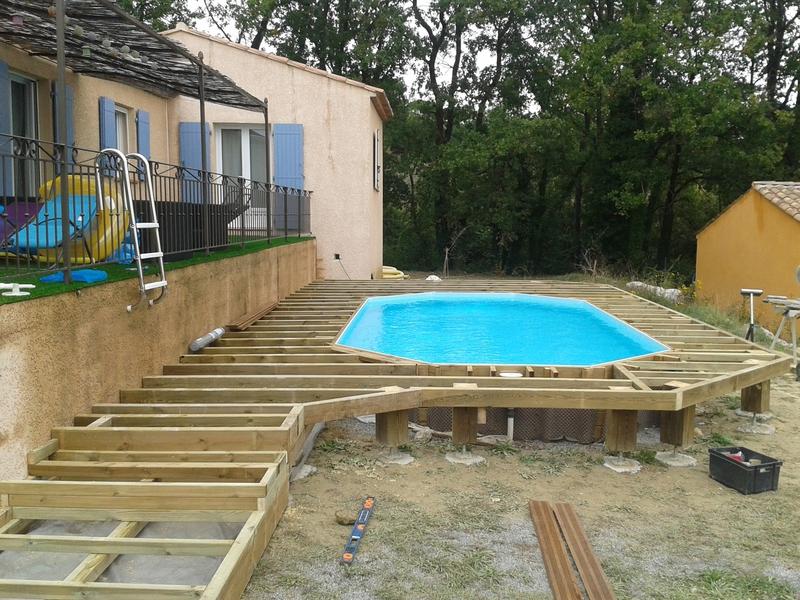 Terrasse bois pour piscine hors sol Mailleraye jardin