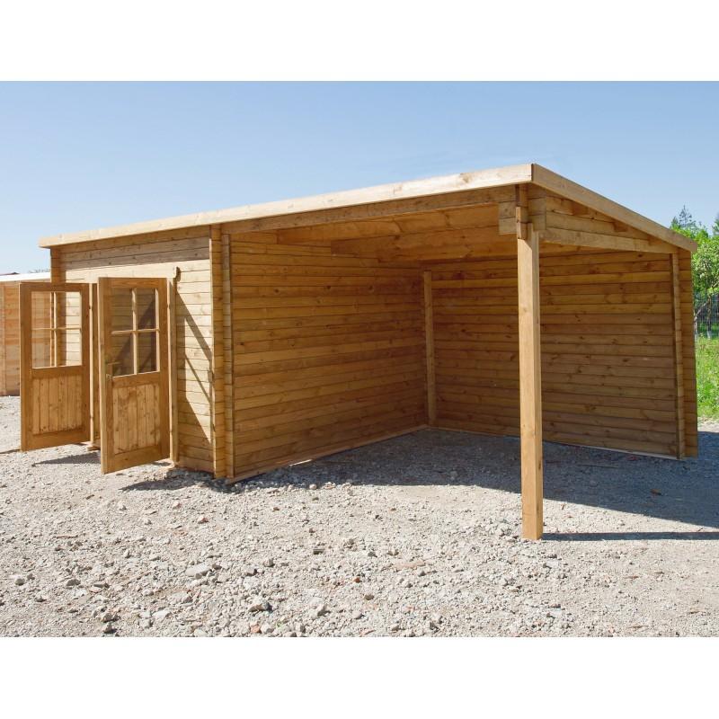 Abri toit plat 9m² PLUS terrasse 9m² traité marron Gardy