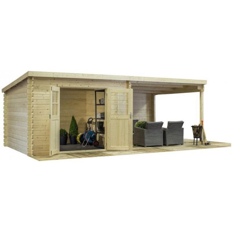 Abri toit plat 9m² terrasse couverte latérale 9m² Bear