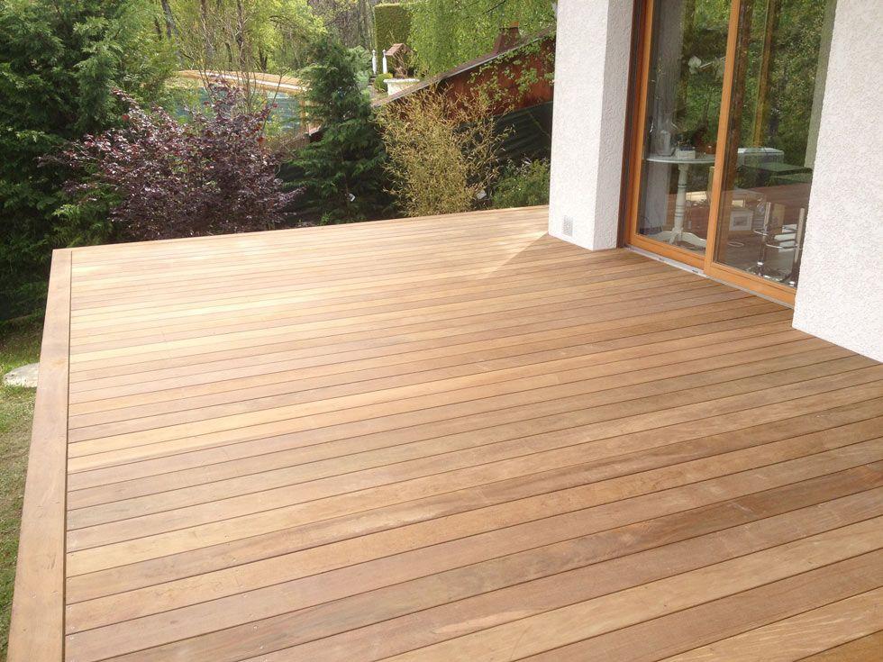 Terrasse en bois exotique Ipé sur pilotis et escalier