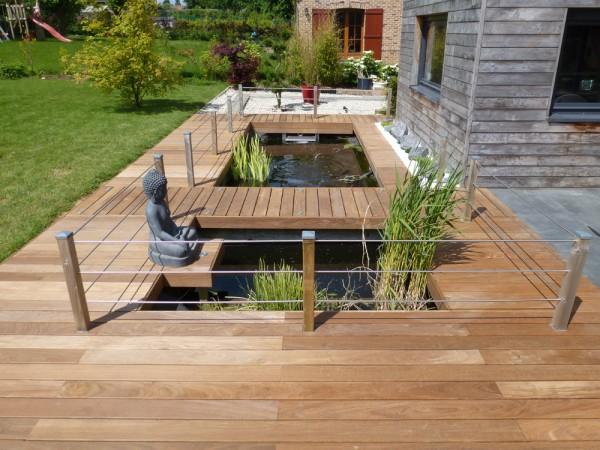 Terrasse en bois exotique jardin d exterieur GALAXY