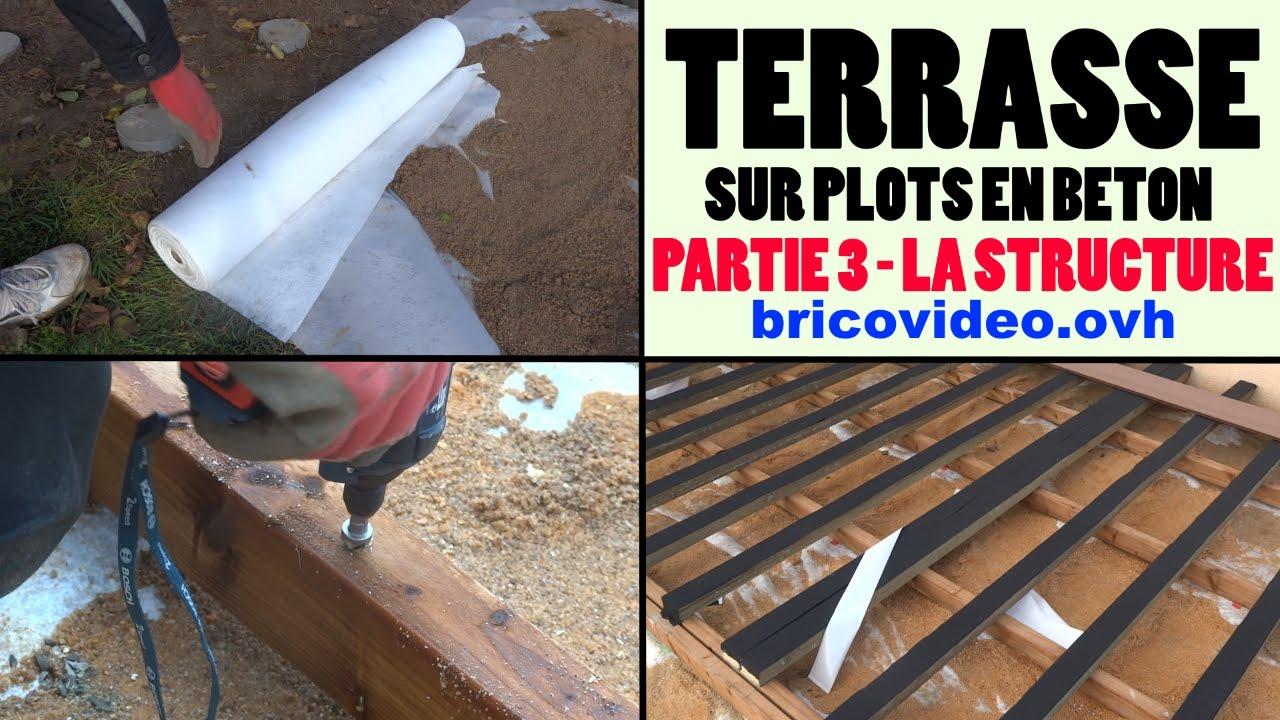 Terrasse en bois posite sur plot en béton armé partie 3