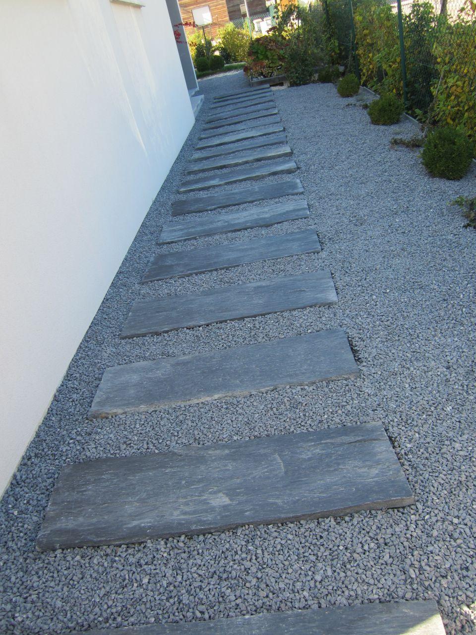 Terrasse En Cailloux Dalles D Ardoise Et Gravier Gris Cubes Et Terrasses Par
