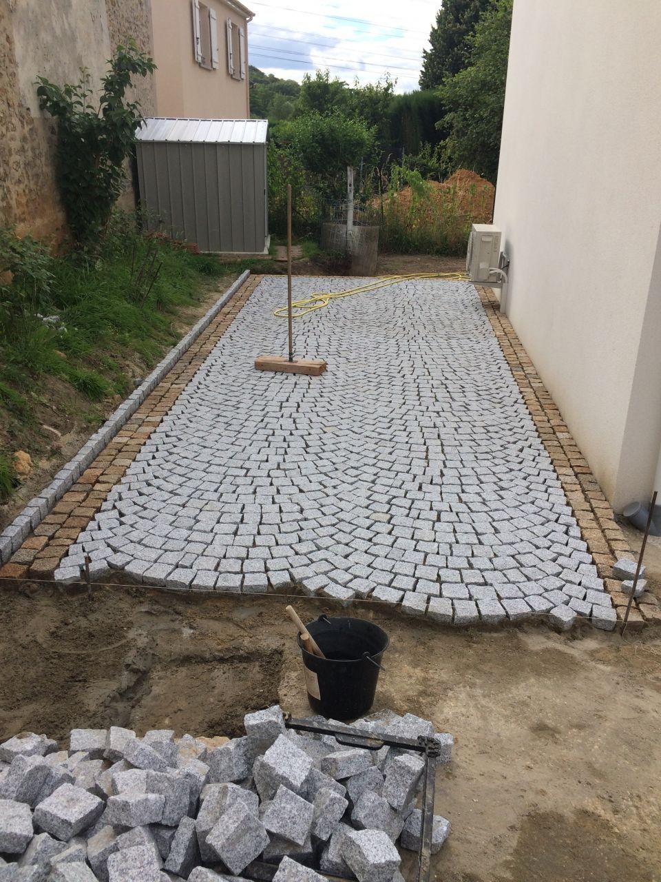 pose de pavés en granit du Portugal paves