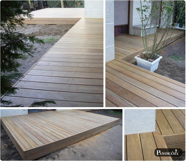 Terrasse en bois exotique Cumaru et store de pergola