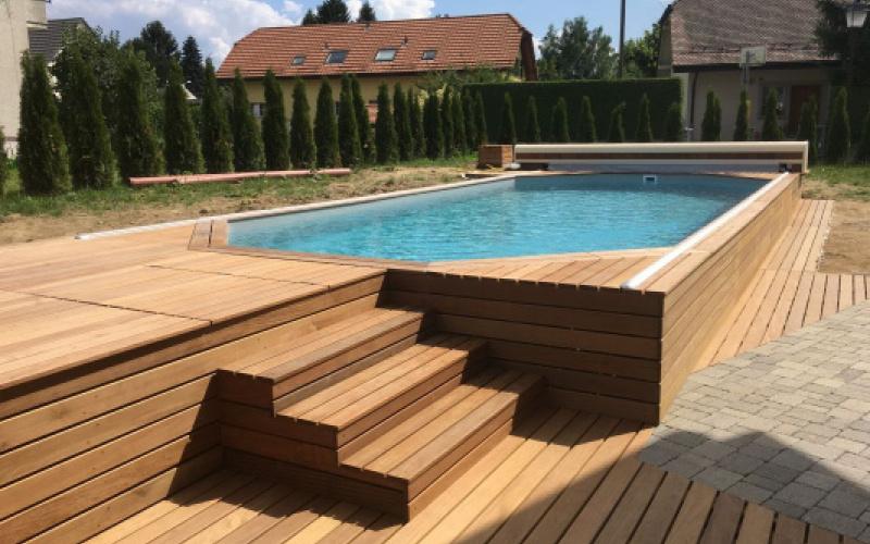 Piscine bois terrasse bois le bo gagnant Arizona Pool