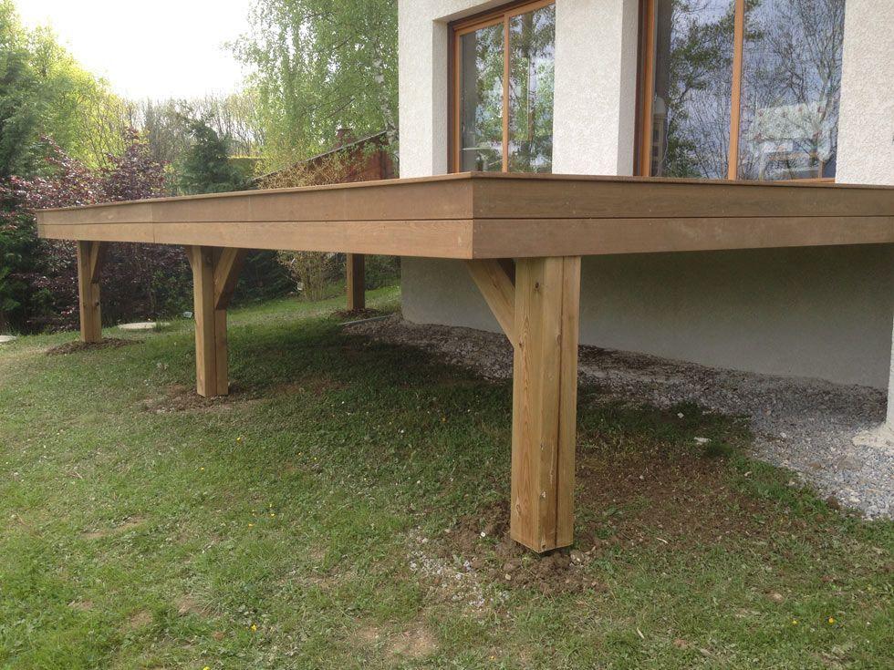 Terrasse en bois exotique Ipé sur pilotis escalier
