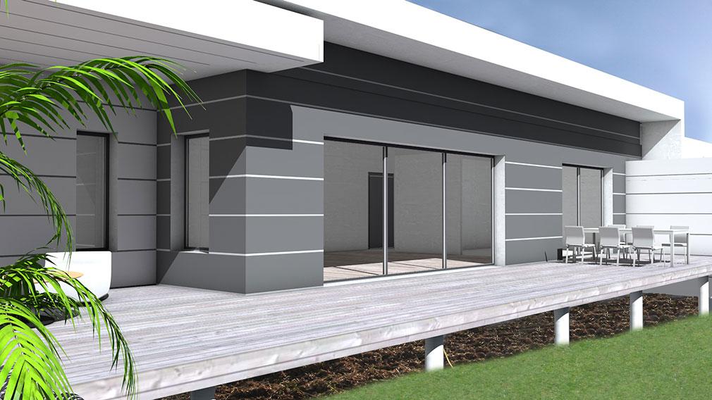 Maison contemporaine à toit terrasse et bardage posite
