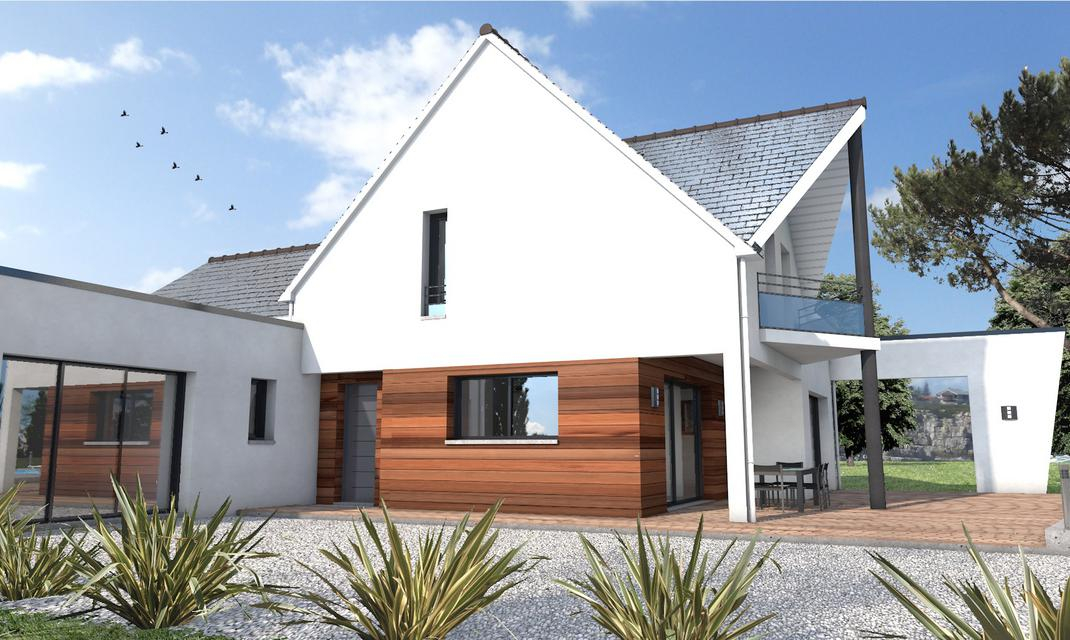 Maison toit double pente et toit plat La Chapelle sur
