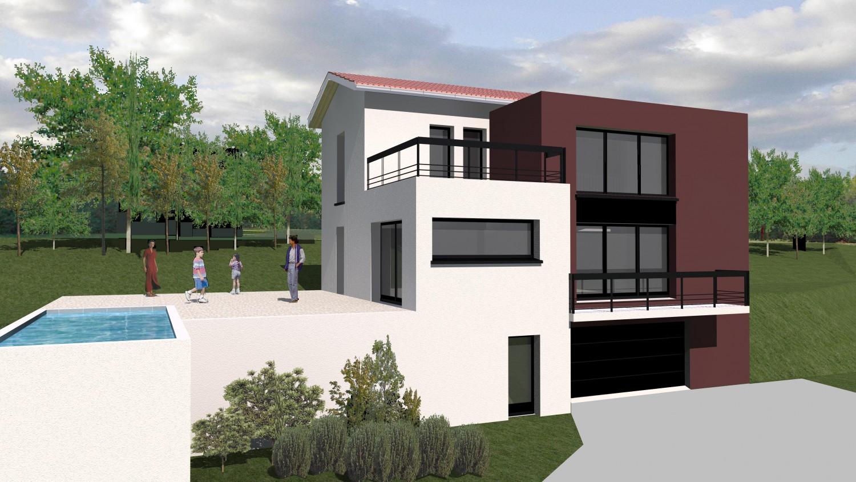 plan maison moderne sur terrain en pente