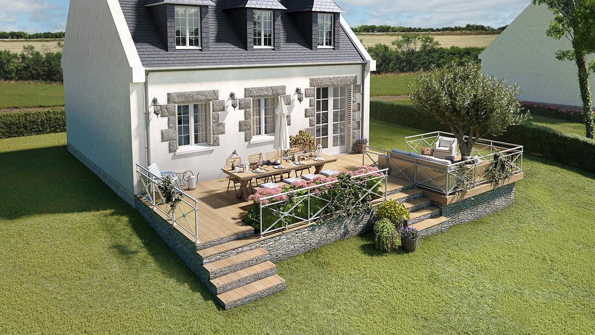 Une terrasse bois sur un terrain en pente