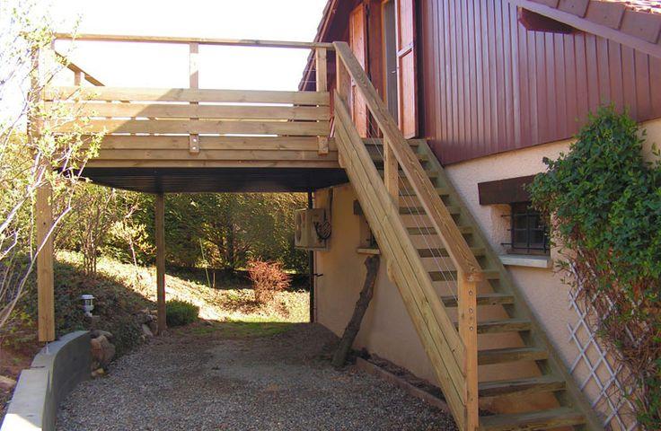 Terrasse bois escalier bois et garde corps bois en Pin