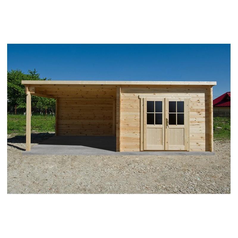 Abri bois toit plat 9m² 40mm Terrasse couverte 9m² Gardy