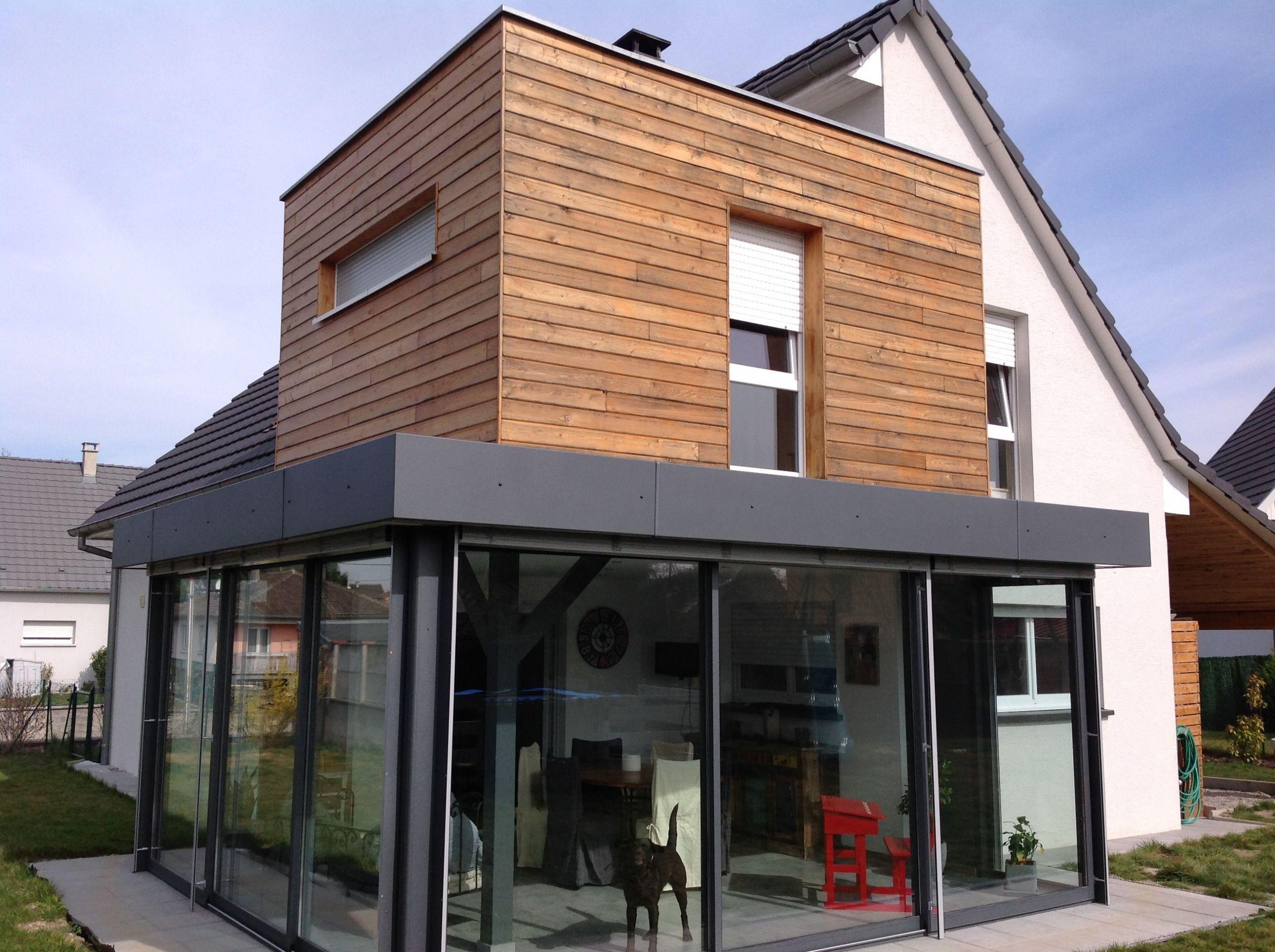 Extension terrasse avec étage en ossature bois