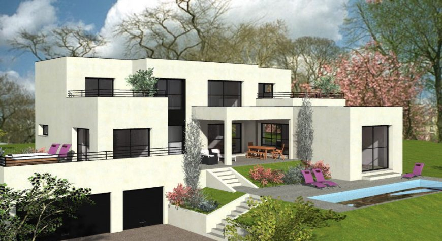 Maison avec toit plat sur 3 niveaux avec solarium et