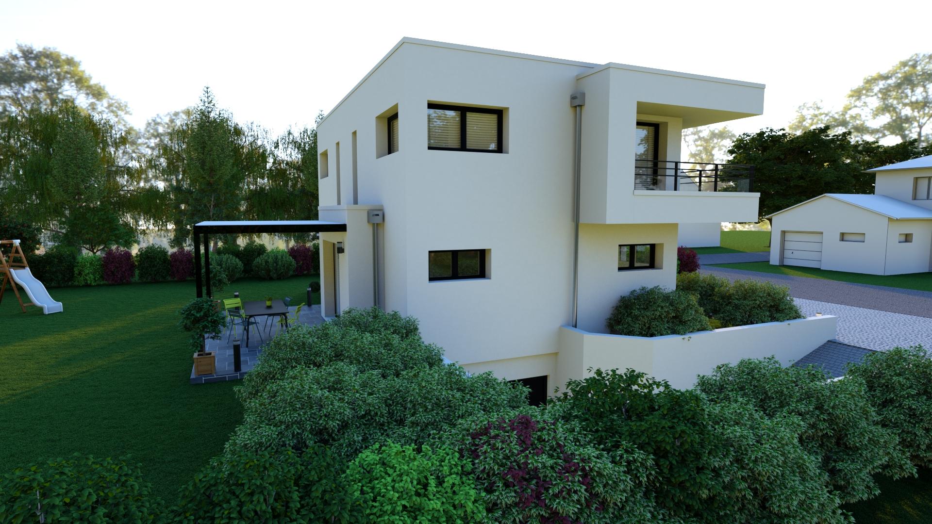 Maison toiture terrasse avec sous sol