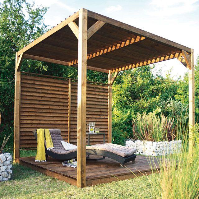 Pergola Castorama Pergola en bois avec toit pare soleil