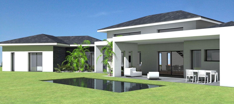 Maison contemporaine à toit ardoises et grande terrasse