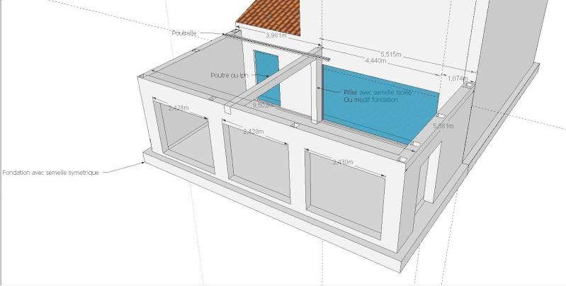 Agrandissement maison par annexe toit plat Bois ou beton