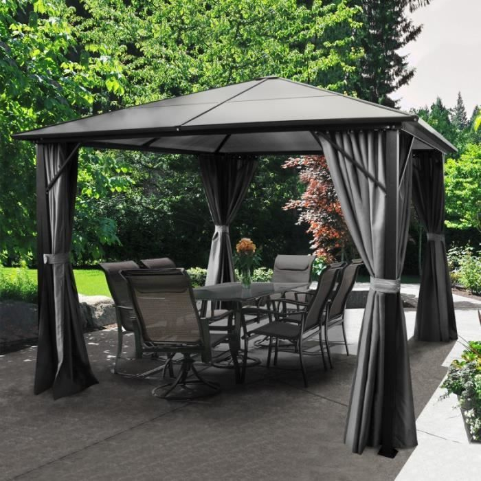 Tonnelle toit polycarbonate 3x3 M rideaux gris 275