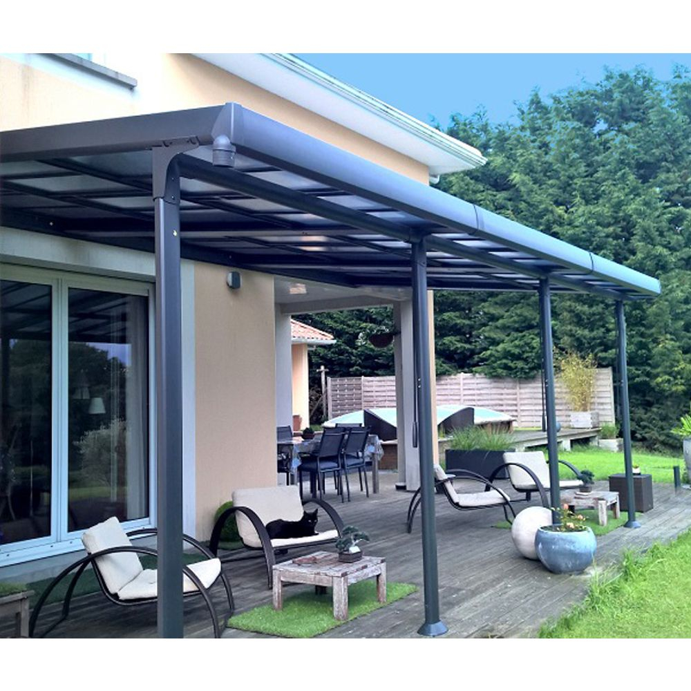 Toit Terrasse Aluminium tonnelle Adossée Aluminium toit Polycarbonate 3 5x6 M