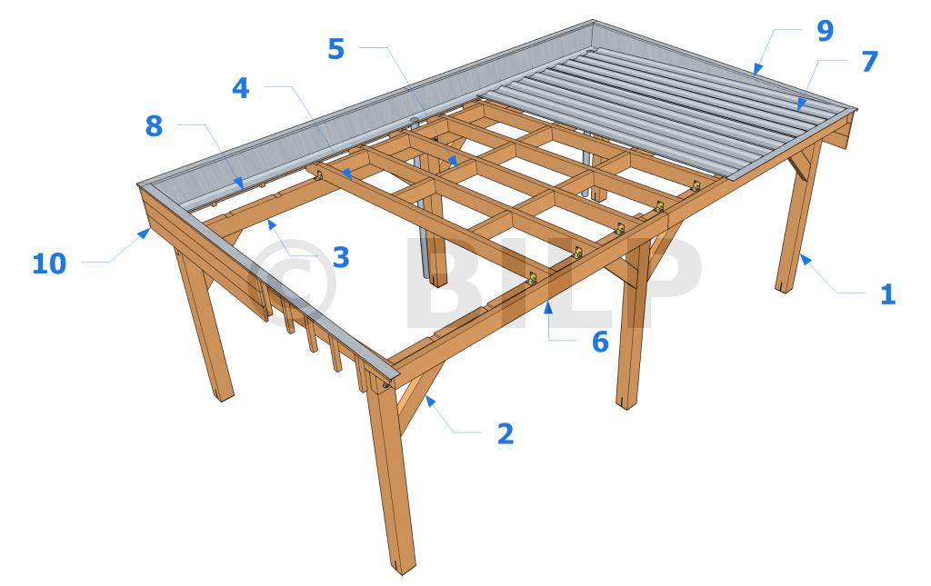 """Résultat de recherche d images pour """"carport toit plat bac"""