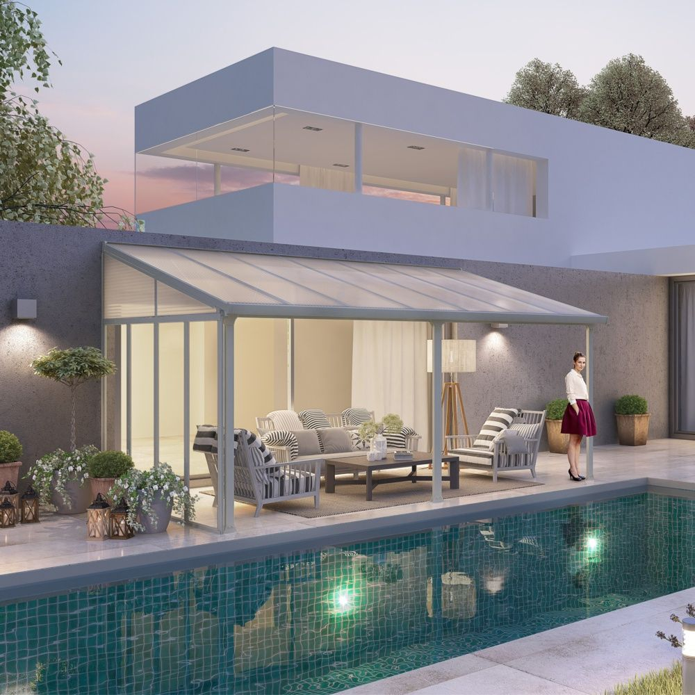 Pergola toit terrasse aluminium et polycarbonate 4x3 m