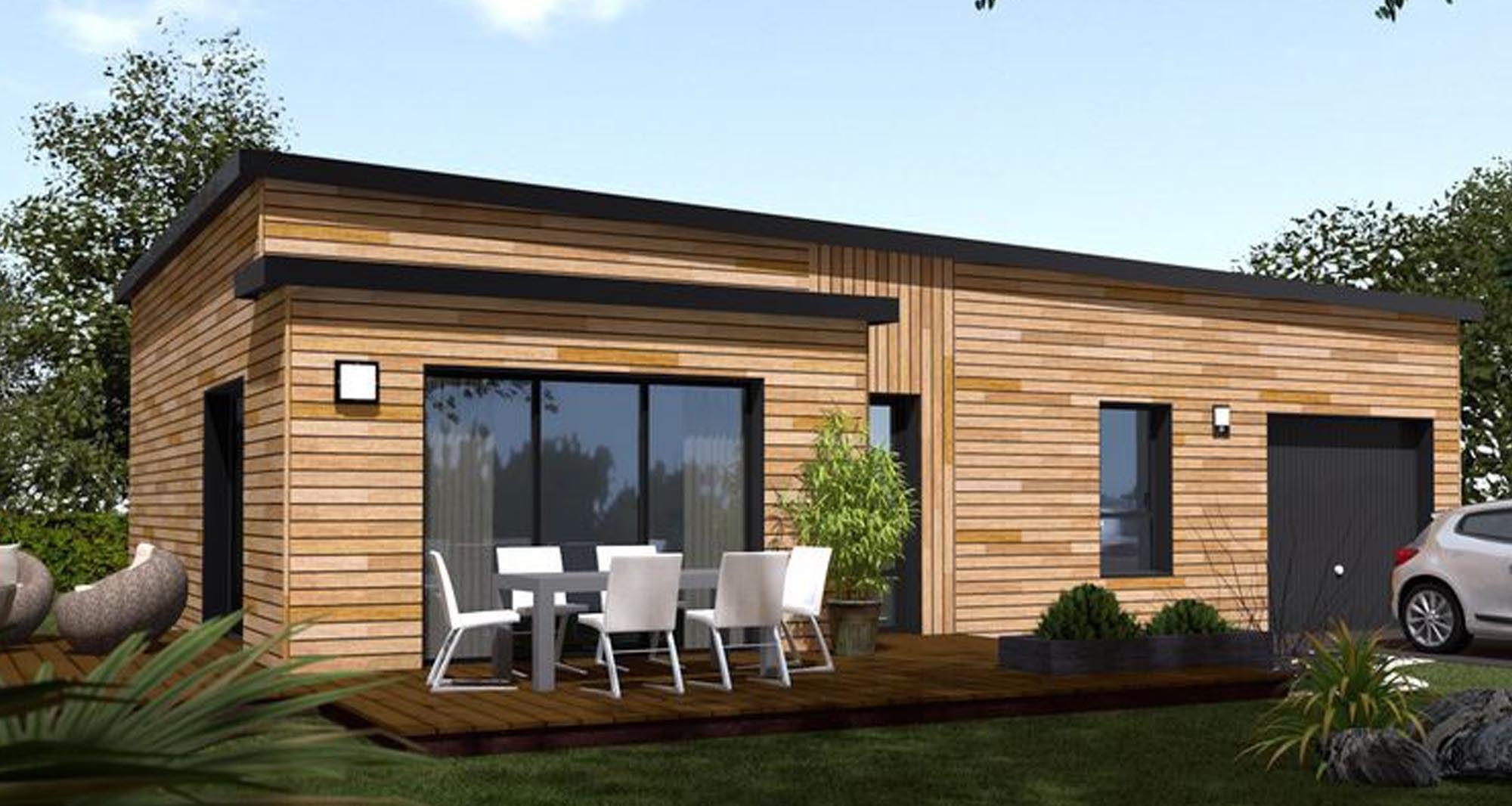 Maison En Bois Toit Plat Terrasse 5 Exceptionnel Kit 0