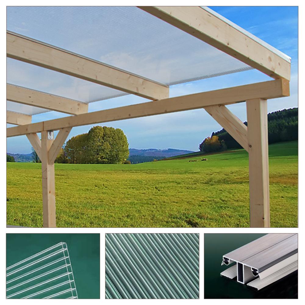 Toit Terrasse Bois Massif Bois Auvent toit Terrasse Polycarbonate Jardin