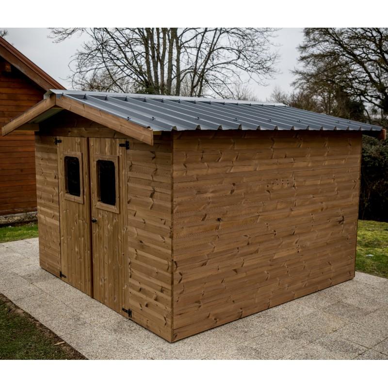 Abri en bois Thermowood 7 81m² Thiers toiture en acier