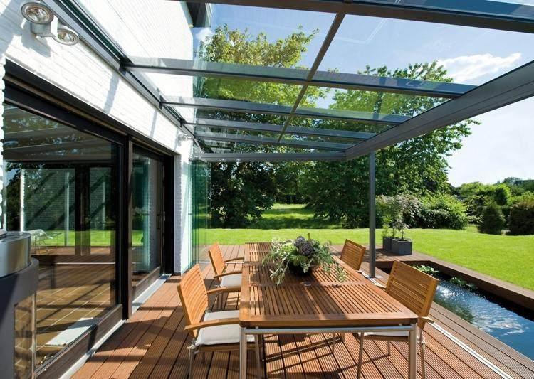 Baie vitrée pour la terrasse fermez la terrasse et ouvrez