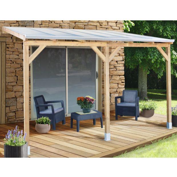 Pergola adossée bois traité toiture polycarbonate 3x3 7 m