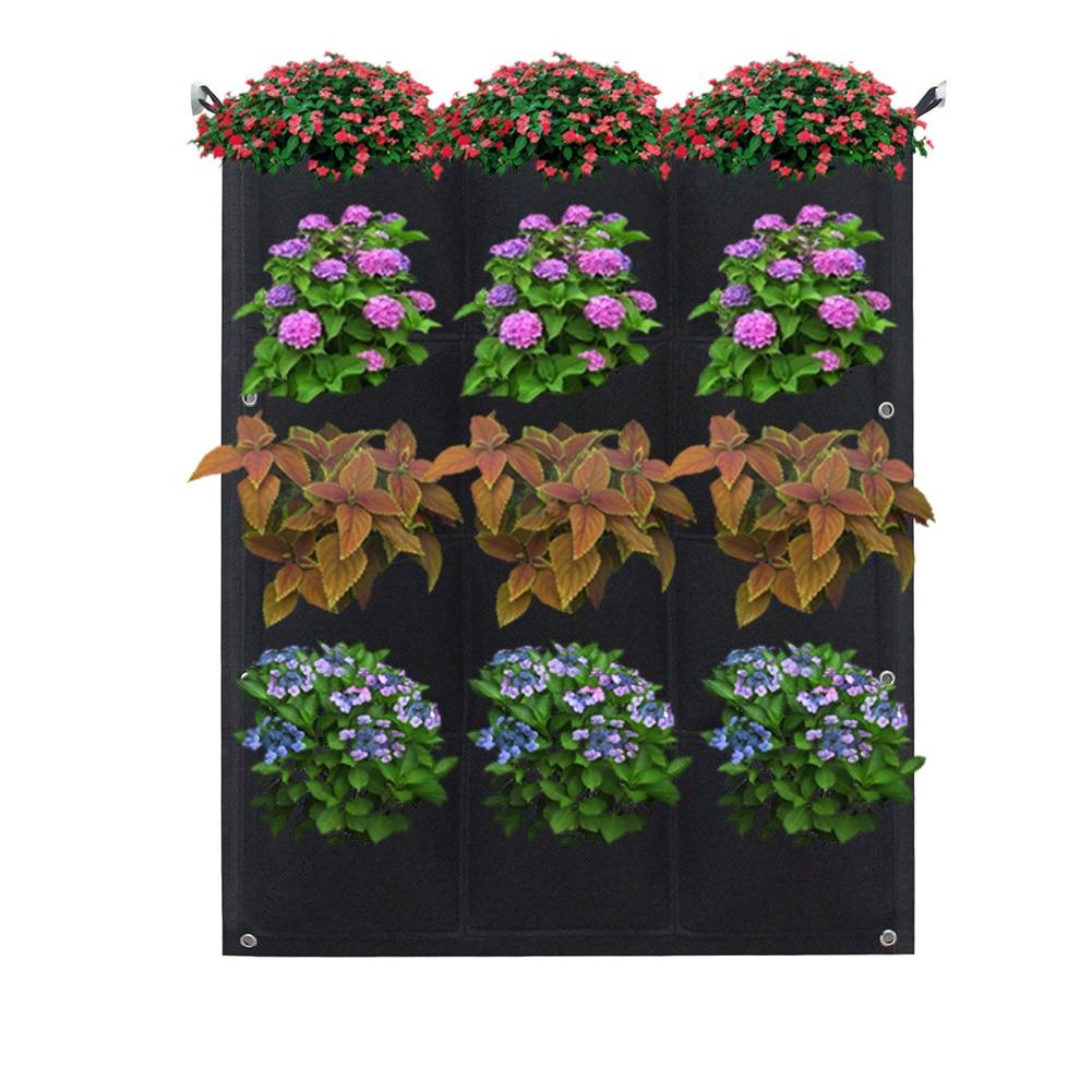 12/18 Cepler Bitki Yetiştirme Çantası Dikey Yatay Yeşil Asılı Duvar Bahçe  Fide Bitki Büyümek Çanta Ekici Siyah encequiconcerne Salon De Jardin Discount