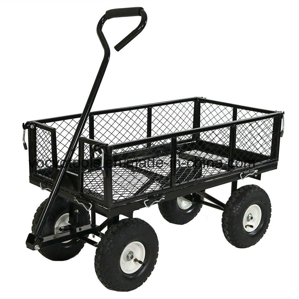 300Kgs 4 Roues Chariot De Jardin En Acier Robuste/jardin ... à Chariot De Jardin 4 Roues