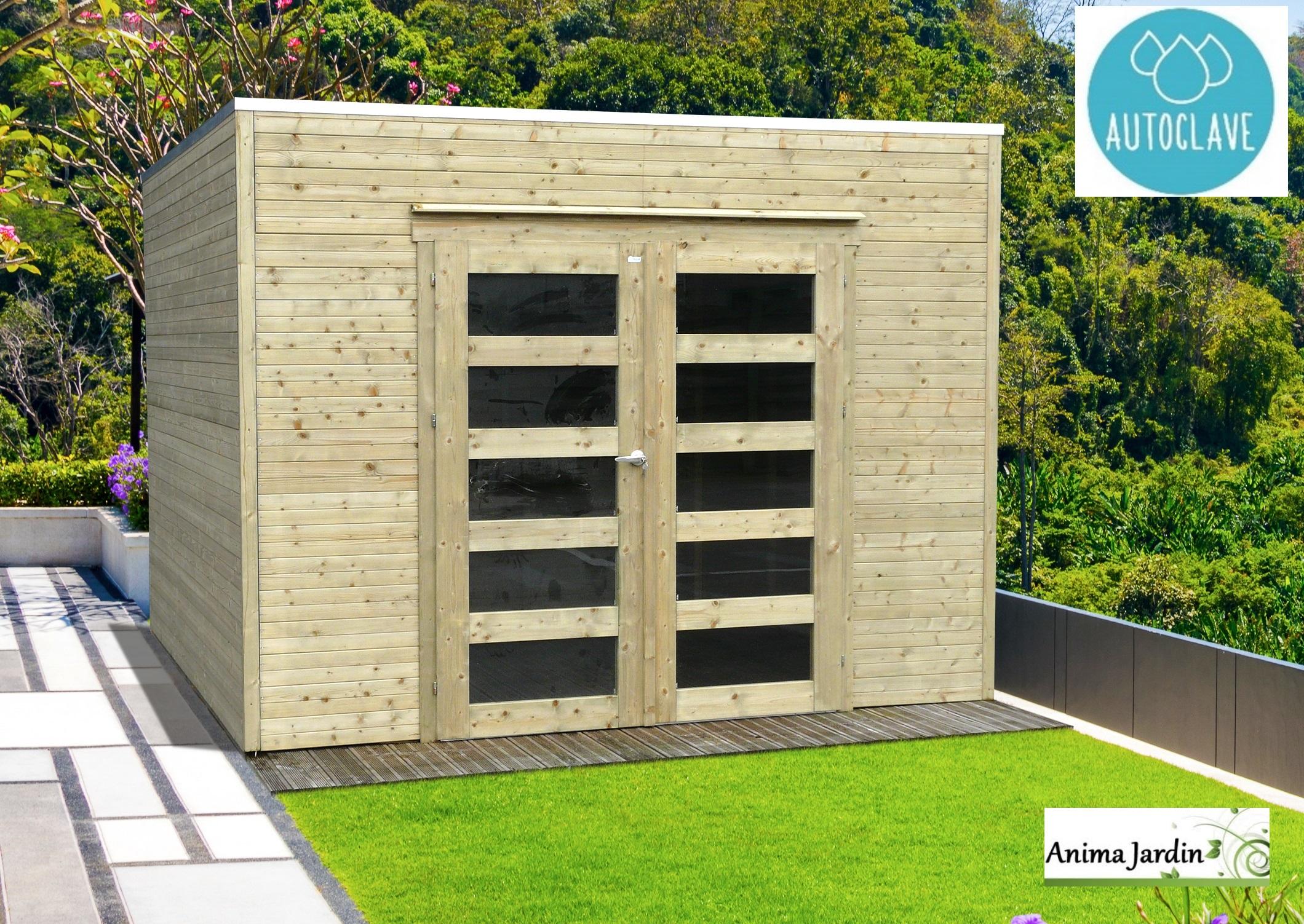 Abri De Jardin En Bois Autoclave 19Mm, Bari, 8M², Toit Plat ... encequiconcerne Abri De Jardin Moins De 5M2