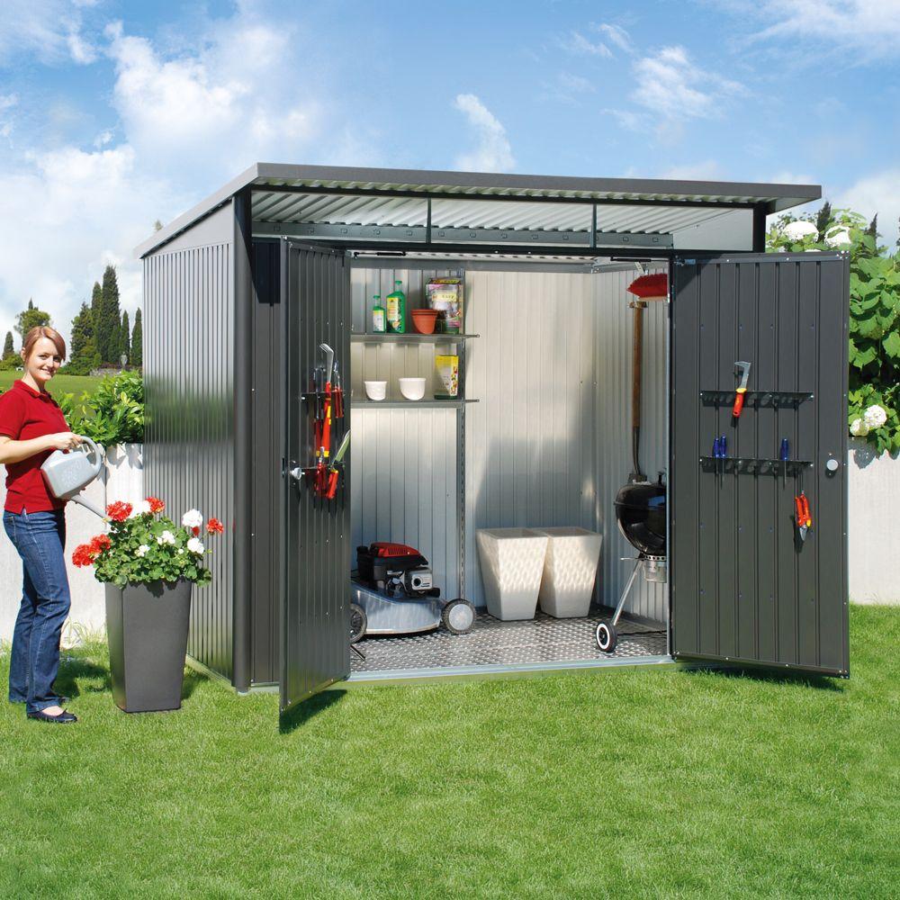 Abri De Jardin Métal Double Porte 5,72 M² Ep. 0,53 Mm Avantgarde Biohort  Gris Foncé à Cabane Jardin Metal