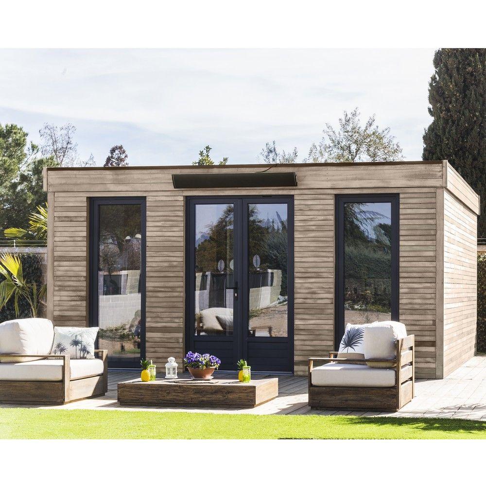 Abri De Jardin Semi Habitable Toit Plat Décor Home 24,70 M² Ep. 90 Mm pour Abris De Jardin 20M2