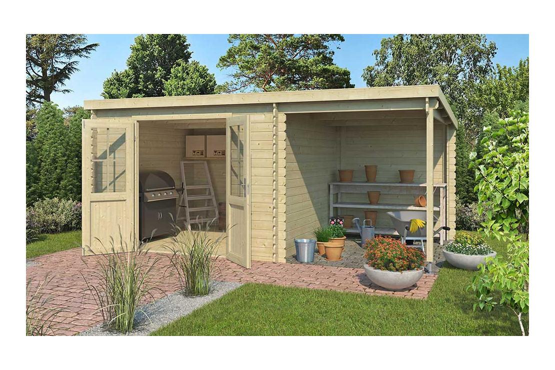 Abri De Jardin Tampa 34Mm - 8,13M² Intérieur + Préau 5.29M² destiné Abrie De Jardin