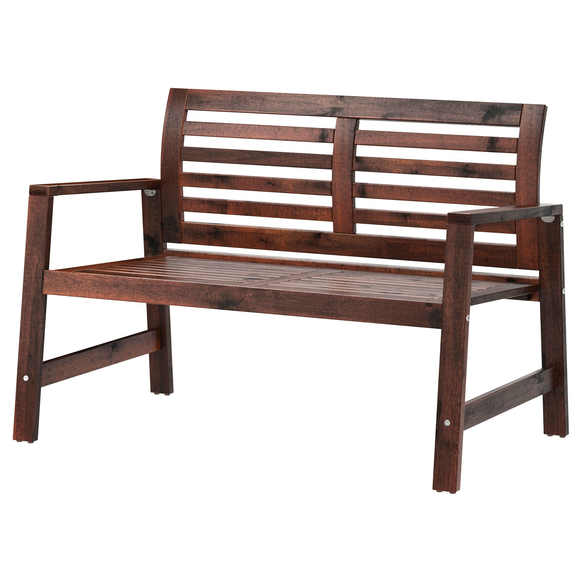 Äpplarö Bench With Backrest, Outdoor - Brown Stained Brown ... pour Banc De Jardin Ikea