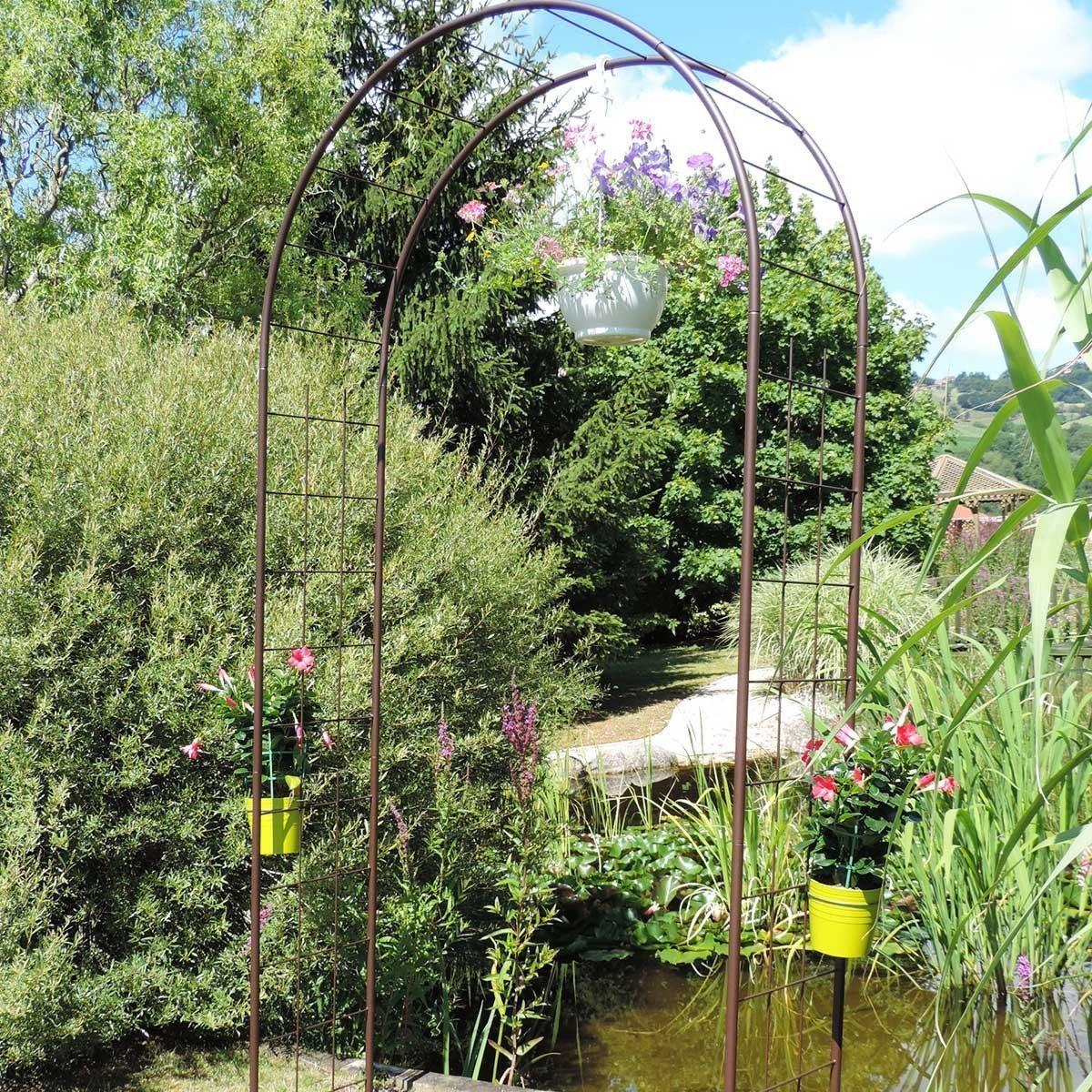 Arche De Jardin Treillage En Fer Petit Modèle + 4 Supports À ... pour Arche De Jardin En Fer