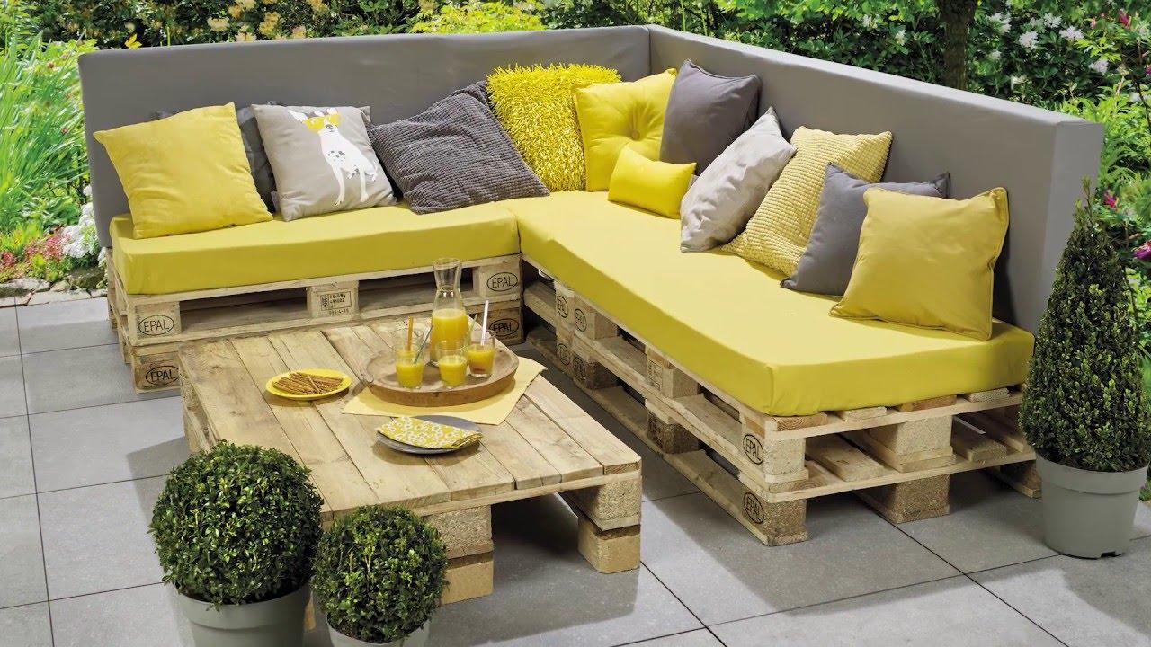 Banc Lounge Et Table En Palettes - Etape Par Étape - Pour Les Makers intérieur Coussin Pour Salon De Jardin En Palette
