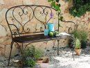 Banquette De Jardin 2 Places En Fer Forgé Marron Saint ... intérieur Salon De Jardin En Fer Forgé