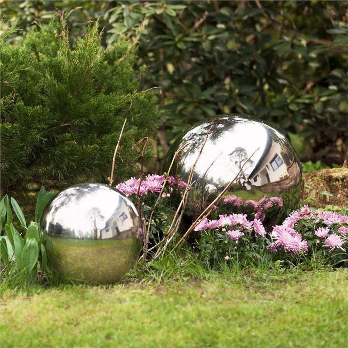Blumfeldt Silver Globe Inox Boule De Jardin Décorative V2A ... destiné Boule Décorative Jardin