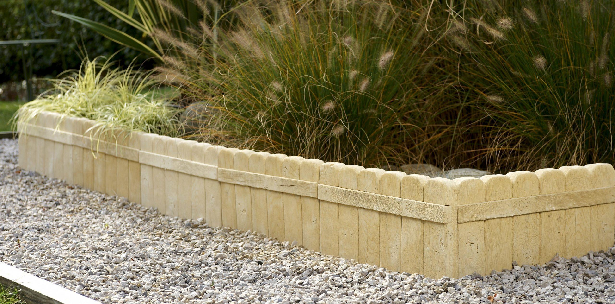 Bordure Droite Alpège En Pierre Reconstituée Naturelle, H.25 X L.50 Cm à Bordure De Jardin En Pierre