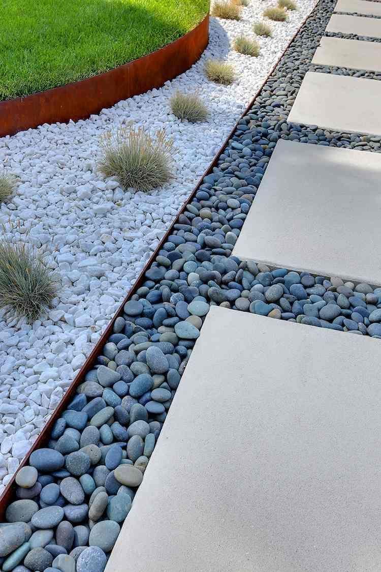 Bordure Jardin Metal Deco Galets Gris Blancs #jardin #garden ... avec Bordure Jardin Metal