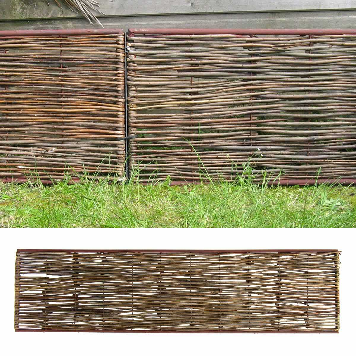 Bordure Médiévale Bois Acacia - Cadre Métal Haut.45Cm + Tige concernant Bordure Jardin Metal